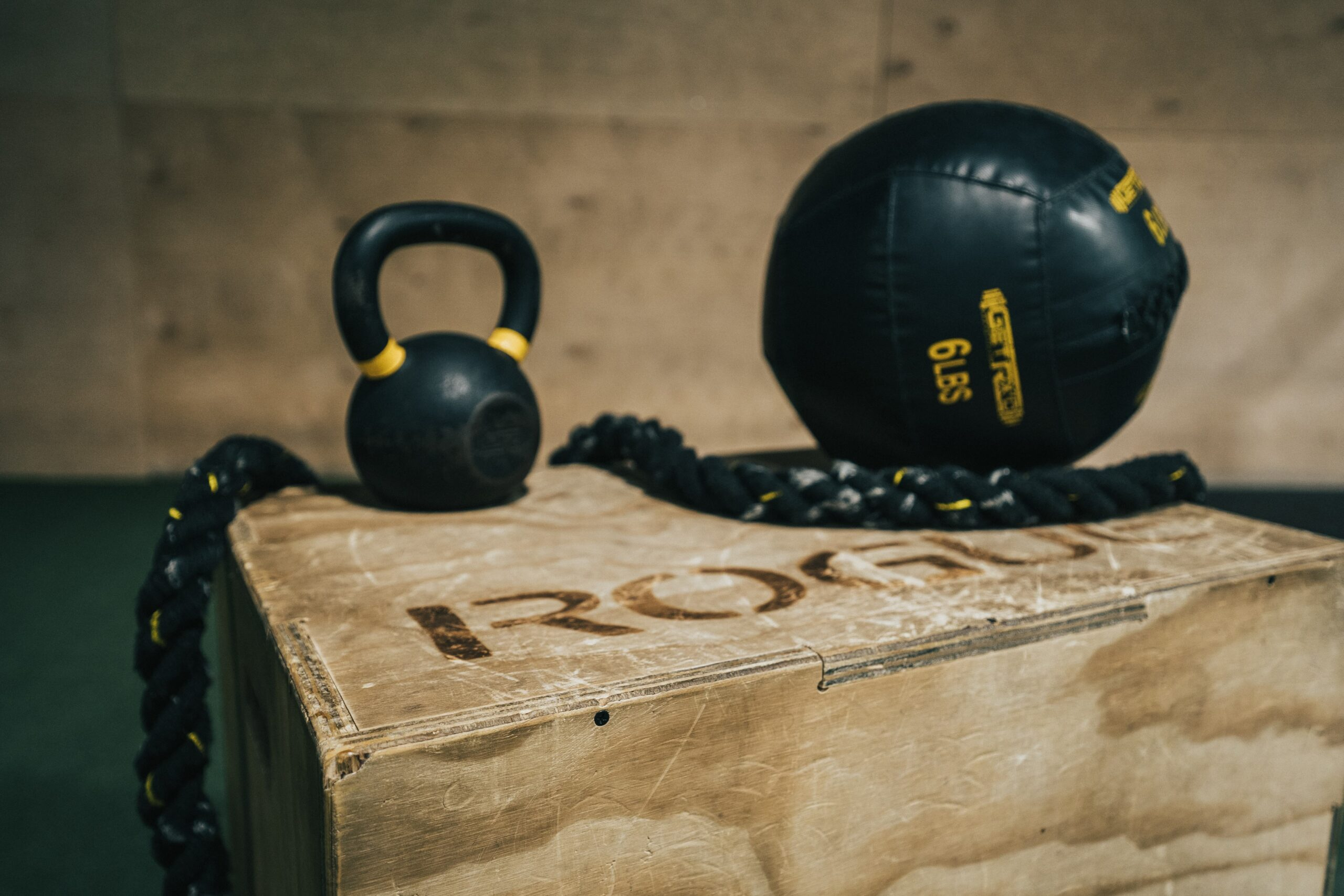 HIIT workout gear sitting on a box for crossfit